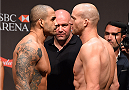 RIO DE JANEIRO, BRAZIL - JULY 31:  (L-R) Rafael Cavalcante and Patrick Cummins face off during the UFC 190 weigh-in inside HSBC Arena on July 31, 2015 in Rio de Janeiro, Brazil.  (Photo by Josh Hedges/Zuffa LLC/Zuffa LLC via Getty Images)
