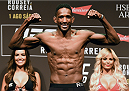 RIO DE JANEIRO, BRAZIL - JULY 31:  Neil Magny steps onto the scale during the UFC 190 weigh-in inside HSBC Arena on July 31, 2015 in Rio de Janeiro, Brazil.  (Photo by Josh Hedges/Zuffa LLC/Zuffa LLC via Getty Images)