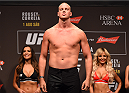 RIO DE JANEIRO, BRAZIL - JULY 31:  Stefan Struve steps onto the scale during the UFC 190 weigh-in inside HSBC Arena on July 31, 2015 in Rio de Janeiro, Brazil.  (Photo by Josh Hedges/Zuffa LLC/Zuffa LLC via Getty Images)