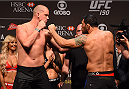 RIO DE JANEIRO, BRAZIL - JULY 31:  (L-R) Stefan Struve and Minotauro Nogueira face off during the UFC 190 weigh-in inside HSBC Arena on July 31, 2015 in Rio de Janeiro, Brazil.  (Photo by Josh Hedges/Zuffa LLC/Zuffa LLC via Getty Images)