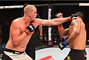 RIO DE JANEIRO, BRAZIL - AUGUST 01:  (L-R) Stefan Struve of the Netherlands punches Rodrigo 'Minotauro' Nogueira of Brazil  in their heavyweight bout during the UFC 190 event inside HSBC Arena on August 1, 2015 in Rio de Janeiro, Brazil.  (Photo by Josh Hedges/Zuffa LLC/Zuffa LLC via Getty Images)