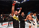 RIO DE JANEIRO, BRAZIL - AUGUST 01:  (L-R) Mauricio 'Shogun' Rua of Brazil celebrates his victory over Rogerio Nogueira of Brazil in their light heavyweight bout during the UFC 190 event inside HSBC Arena on August 1, 2015 in Rio de Janeiro, Brazil.  (Photo by Josh Hedges/Zuffa LLC/Zuffa LLC via Getty Images)