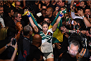 RIO DE JANEIRO, BRAZIL - AUGUST 01:  Bethe Correia of Brazil prepares to enter the Octagon before facing Ronda Rousey of the United States in their UFC women's bantamweight championship bout during the UFC 190 event inside HSBC Arena on August 1, 2015 in Rio de Janeiro, Brazil.  (Photo by Josh Hedges/Zuffa LLC/Zuffa LLC via Getty Images)