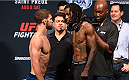 NASHVILLE, TN - AUGUST 07:  (L-R) Opponents Dustin Ortiz and Willie Gates face off during the UFC weigh-in at Bridgestone Arena on August 7, 2015 in Nashville, Tennessee.  (Photo by Josh Hedges/Zuffa LLC/Zuffa LLC via Getty Images)