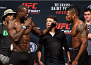 NASHVILLE, TN - AUGUST 07:  (L-R) Opponents Uriah Hall of Jamaica and Oluwale Bamgbose face off during the UFC weigh-in at Bridgestone Arena on August 7, 2015 in Nashville, Tennessee.  (Photo by Josh Hedges/Zuffa LLC/Zuffa LLC via Getty Images)