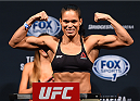 NASHVILLE, TN - AUGUST 07:  Amanda Nunes of Brazil steps on the scale during the UFC weigh-in at Bridgestone Arena on August 7, 2015 in Nashville, Tennessee.  (Photo by Josh Hedges/Zuffa LLC/Zuffa LLC via Getty Images)