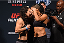 NASHVILLE, TN - AUGUST 07:  (L-R) Opponents Sara McMann and Amanda Nunes of Brazil face off during the UFC weigh-in at Bridgestone Arena on August 7, 2015 in Nashville, Tennessee.  (Photo by Josh Hedges/Zuffa LLC/Zuffa LLC via Getty Images)