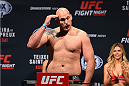 NASHVILLE, TN - AUGUST 07:  Timothy Johnson steps on the scale during the UFC weigh-in at Bridgestone Arena on August 7, 2015 in Nashville, Tennessee.  (Photo by Josh Hedges/Zuffa LLC/Zuffa LLC via Getty Images)