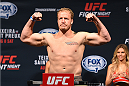 NASHVILLE, TN - AUGUST 07:  Jared Rosholt steps on the scale during the UFC weigh-in at Bridgestone Arena on August 7, 2015 in Nashville, Tennessee.  (Photo by Josh Hedges/Zuffa LLC/Zuffa LLC via Getty Images)