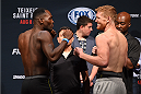 NASHVILLE, TN - AUGUST 07:  (L-R) Opponents Derek Brunson and Sam Alvey face off during the UFC weigh-in at Bridgestone Arena on August 7, 2015 in Nashville, Tennessee.  (Photo by Josh Hedges/Zuffa LLC/Zuffa LLC via Getty Images)