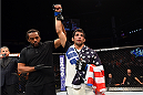 NASHVILLE, TN - AUGUST 08:  Beneil Dariush celebrates after defeating Michael Johnson in their lightweight bout during the UFC Fight Night event at Bridgestone Arena on August 8, 2015 in Nashville, Tennessee.  (Photo by Josh Hedges/Zuffa LLC/Zuffa LLC via Getty Images)