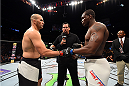 NASHVILLE, TN - AUGUST 08:  (L-R) Glover Teixeira of Brazil and Ovince Saint Preux touch gloves before facing each other in their light heavyweight bout during the UFC Fight Night event at Bridgestone Arena on August 8, 2015 in Nashville, Tennessee.  (Photo by Josh Hedges/Zuffa LLC/Zuffa LLC via Getty Images)