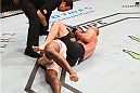 NASHVILLE, TN - AUGUST 08:  (R-L) Glover Teixeira of Brazil submits Ovince Saint Preux in their light heavyweight bout during the UFC Fight Night event at Bridgestone Arena on August 8, 2015 in Nashville, Tennessee.  (Photo by Josh Hedges/Zuffa LLC/Zuffa LLC via Getty Images)