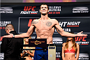 SASKATOON, SK - AUGUST 22:  Nikita Krylov of Ukraine steps on the scale during the UFC weigh-in at the SaskTel Centre on August 22, 2015 in Saskatoon, Saskatchewan, Canada. (Photo by Jeff Bottari/Zuffa LLC/Zuffa LLC via Getty Images)