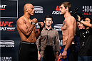 SASKATOON, SK - AUGUST 22:  (L-R) Opponents Marcos Rogerio de Lima of Brazil and Nikita Krylov of Ukraine face off during the UFC weigh-in at the SaskTel Centre on August 22, 2015 in Saskatoon, Saskatchewan, Canada. (Photo by Jeff Bottari/Zuffa LLC/Zuffa LLC via Getty Images)