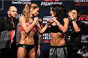 SASKATOON, SK - AUGUST 22:  (L-R) Opponents Maryna Moroz of Ukraine and Valerie Letourneau face off during the UFC weigh-in at the SaskTel Centre on August 22, 2015 in Saskatoon, Saskatchewan, Canada. (Photo by Jeff Bottari/Zuffa LLC/Zuffa LLC via Getty Images)