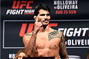 SASKATOON, SK - AUGUST 22:  Erick Silva of Brazil steps on the scale during the UFC weigh-in at the SaskTel Centre on August 22, 2015 in Saskatoon, Saskatchewan, Canada. (Photo by Jeff Bottari/Zuffa LLC/Zuffa LLC via Getty Images)