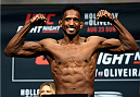 SASKATOON, SK - AUGUST 22:  Neil Magny of the United States steps on the scale during the UFC weigh-in at the SaskTel Centre on August 22, 2015 in Saskatoon, Saskatchewan, Canada. (Photo by Jeff Bottari/Zuffa LLC/Zuffa LLC via Getty Images)