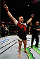 SASKATOON, SK - AUGUST 23:  Misha Cirkunov of Latvia celebrates after his TKO victory over Daniel Jolly of the United States in their light heavyweight bout during the UFC event at the SaskTel Centre on August 23, 2015 in Saskatoon, Saskatchewan, Canada. (Photo by Jeff Bottari/Zuffa LLC/Zuffa LLC via Getty Images)