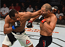 SASKATOON, SK - AUGUST 23:  (L-R) Francisco Trinaldo of Brazil punches Chad Laprise in their lightweight bout during the UFC event at the SaskTel Centre on August 23, 2015 in Saskatoon, Saskatchewan, Canada. (Photo by Jeff Bottari/Zuffa LLC/Zuffa LLC via Getty Images)