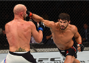 SASKATOON, SK - AUGUST 23:  (R-L) Patrick Cote punches Josh Burkman of the United States in their welterweight bout during the UFC event at the SaskTel Centre on August 23, 2015 in Saskatoon, Saskatchewan, Canada. (Photo by Jeff Bottari/Zuffa LLC/Zuffa LLC via Getty Images)
