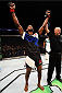 SASKATOON, SK - AUGUST 23:  Neil Magny celebrates after his decision victory over Erick Silva in their welterweight bout during the UFC event at the SaskTel Centre on August 23, 2015 in Saskatoon, Saskatchewan, Canada. (Photo by Jeff Bottari/Zuffa LLC/Zuffa LLC via Getty Images)