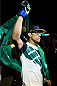 SASKATOON, SK - AUGUST 23:  Charles Oliveira of Brazil enters the arena before his featherweight bout against Max Holloway during the UFC event at the SaskTel Centre on August 23, 2015 in Saskatoon, Saskatchewan, Canada. (Photo by Jeff Bottari/Zuffa LLC/Zuffa LLC via Getty Images)