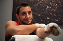 LAS VEGAS, NV - MARCH 24:  Oliver Meza gets his hands wrapped before facing Cesar Arzamendia during the filming of The Ultimate Fighter Latin America: Team Gastelum vs Team Escudero  on March 24, 2015 in Las Vegas, Nevada. (Photo by Brandon Magnus/Zuffa LLC/Zuffa LLC via Getty Images) *** Local Caption ***