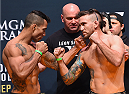 LAS VEGAS, NV - SEPTEMBER 04:  (L-R) Joaquim Silva and Nazareno Malegarie face off during the UFC 191 weigh-in inside MGM Grand Garden Arena on September 4, 2015 in Las Vegas, Nevada.  (Photo by Josh Hedges/Zuffa LLC/Zuffa LLC via Getty Images)