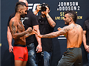 LAS VEGAS, NV - SEPTEMBER 04:  (L-R) Francisco Rivera and John Lineker face off during the UFC 191 weigh-in inside MGM Grand Garden Arena on September 4, 2015 in Las Vegas, Nevada.  (Photo by Josh Hedges/Zuffa LLC/Zuffa LLC via Getty Images)