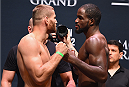 LAS VEGAS, NV - SEPTEMBER 04:  (L-R) Jan Blachowicz and Corey Anderson face off during the UFC 191 weigh-in inside MGM Grand Garden Arena on September 4, 2015 in Las Vegas, Nevada.  (Photo by Josh Hedges/Zuffa LLC/Zuffa LLC via Getty Images)