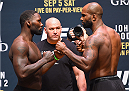 LAS VEGAS, NV - SEPTEMBER 04:  (L-R) Anthony Johnson and Jimi Manuwa face off during the UFC 191 weigh-in inside MGM Grand Garden Arena on September 4, 2015 in Las Vegas, Nevada.  (Photo by Josh Hedges/Zuffa LLC/Zuffa LLC via Getty Images)