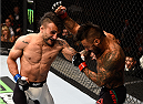 LAS VEGAS, NV - SEPTEMBER 05: (L-R) John Lineker punches Francisco Rivera in their bantamweight bout during the UFC 191 event inside MGM Grand Garden Arena on September 5, 2015 in Las Vegas, Nevada.  (Photo by Jeff Bottari/Zuffa LLC/Zuffa LLC via Getty Images) *** Local Caption *** Francisco Rivera; John Lineker