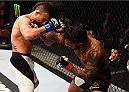 LAS VEGAS, NV - SEPTEMBER 05: (R-L) Francisco Rivera punches John Lineker in their bantamweight bout during the UFC 191 event inside MGM Grand Garden Arena on September 5, 2015 in Las Vegas, Nevada.  (Photo by Jeff Bottari/Zuffa LLC/Zuffa LLC via Getty Images) *** Local Caption *** Francisco Rivera; John Lineker