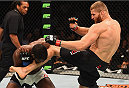 LAS VEGAS, NV - SEPTEMBER 05: (R-L) Jan Blachowicz kicks Corey Anderson in their light heavyweight bout during the UFC 191 event inside MGM Grand Garden Arena on September 5, 2015 in Las Vegas, Nevada.  (Photo by Josh Hedges/Zuffa LLC/Zuffa LLC via Getty Images) *** Local Caption *** Jan Blachowicz; Corey Anderson