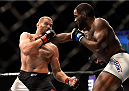 LAS VEGAS, NV - SEPTEMBER 05: (R-L) Corey Anderson punches Jan Blachowicz in their light heavyweight bout during the UFC 191 event inside MGM Grand Garden Arena on September 5, 2015 in Las Vegas, Nevada.  (Photo by Jeff Bottari/Zuffa LLC/Zuffa LLC via Getty Images) *** Local Caption *** Jan Blachowicz; Corey Anderson