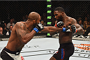 LAS VEGAS, NV - SEPTEMBER 05: (L-R) Jimi Manuwa punches Anthony Johnson in their light heavyweight bout during the UFC 191 event inside MGM Grand Garden Arena on September 5, 2015 in Las Vegas, Nevada.  (Photo by Josh Hedges/Zuffa LLC/Zuffa LLC via Getty Images) *** Local Caption *** Anthony Johnson; Jimi Manuwa