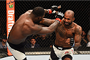 LAS VEGAS, NV - SEPTEMBER 05: (R-L) Jimi Manuwa punches Anthony Johnson in their light heavyweight bout during the UFC 191 event inside MGM Grand Garden Arena on September 5, 2015 in Las Vegas, Nevada.  (Photo by Josh Hedges/Zuffa LLC/Zuffa LLC via Getty Images) *** Local Caption *** Anthony Johnson; Jimi Manuwa