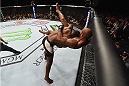 LAS VEGAS, NV - SEPTEMBER 05: (L-R) Anthony Johnson takes down Jimi Manuwa in their light heavyweight bout during the UFC 191 event inside MGM Grand Garden Arena on September 5, 2015 in Las Vegas, Nevada.  (Photo by Josh Hedges/Zuffa LLC/Zuffa LLC via Getty Images) *** Local Caption *** Anthony Johnson; Jimi Manuwa