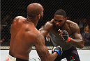 LAS VEGAS, NV - SEPTEMBER 05: (R-L) Anthony Johnson punches Jimi Manuwa in their light heavyweight bout during the UFC 191 event inside MGM Grand Garden Arena on September 5, 2015 in Las Vegas, Nevada.  (Photo by Josh Hedges/Zuffa LLC/Zuffa LLC via Getty Images) *** Local Caption *** Anthony Johnson; Jimi Manuwa