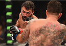 LAS VEGAS, NV - SEPTEMBER 05: (L-R) Andrei Arlovski punches Frank Mir in their heavyweight bout during the UFC 191 event inside MGM Grand Garden Arena on September 5, 2015 in Las Vegas, Nevada.  (Photo by Josh Hedges/Zuffa LLC/Zuffa LLC via Getty Images) *** Local Caption *** Andrei Arlovski; Frank Mir