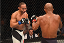 LAS VEGAS, NV - SEPTEMBER 05: (L-R) John Dodson faces off with Demetrious Johnson in their flyweight championship bout during the UFC 191 event inside MGM Grand Garden Arena on September 5, 2015 in Las Vegas, Nevada.  (Photo by Josh Hedges/Zuffa LLC/Zuffa LLC via Getty Images) *** Local Caption *** Demetrious Johnson; John Dodson