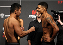 SAITAMA, JAPAN - SEPTEMBER 25: (L and R) Naoyuki Kotani and Kajan Johnson during the UFC weigh-in at the Saitama Super Arena on September 25, 2015 in Saitama, Japan. (Photo by Mitch Viquez/Zuffa LLC/Zuffa LLC via Getty Images)