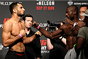 SAITAMA, JAPAN - SEPTEMBER 25: (L and R) Gegard Mousasi and Uriah Hall during the UFC weigh-in at the Saitama Super Arena on September 25, 2015 in Saitama, Japan. (Photo by Mitch Viquez/Zuffa LLC/Zuffa LLC via Getty Images)