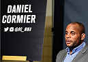HOUSTON, TX - OCTOBER 01:  UFC light heavyweight champion Daniel Cormier interacts with media during the UFC 192 Ultimate Media Day at the Toyota Center on October 1, 2015 in Houston, Texas. (Photo by Josh Hedges/Zuffa LLC/Zuffa LLC via Getty Images)