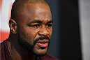 HOUSTON, TX - OCTOBER 01:  Rashad Evans interacts with media during the UFC 192 Ultimate Media Day at the Toyota Center on October 1, 2015 in Houston, Texas. (Photo by Josh Hedges/Zuffa LLC/Zuffa LLC via Getty Images)