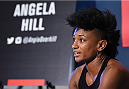 HOUSTON, TX - OCTOBER 01:  Angela Hill interacts with media during the UFC 192 Ultimate Media Day at the Toyota Center on October 1, 2015 in Houston, Texas. (Photo by Josh Hedges/Zuffa LLC/Zuffa LLC via Getty Images)