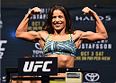 HOUSTON, TX - OCTOBER 02:  Julianna Pena steps on the scale during the UFC 192 weigh-in at the Toyota Center on October 2, 2015 in Houston, Texas. (Photo by Josh Hedges/Zuffa LLC/Zuffa LLC via Getty Images)