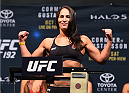 HOUSTON, TX - OCTOBER 02:  Jessica Eye steps on the scale during the UFC 192 weigh-in at the Toyota Center on October 2, 2015 in Houston, Texas. (Photo by Josh Hedges/Zuffa LLC/Zuffa LLC via Getty Images)