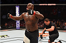 HOUSTON, TX - OCTOBER 03:  Derrick Lewis celebrates his TKO victory over Viktor Pesta in their heavyweight bout during the UFC 192 event at the Toyota Center on October 3, 2015 in Houston, Texas. (Photo by Josh Hedges/Zuffa LLC/Zuffa LLC via Getty Images)